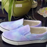 Gradient Color Starry Sky Print Canvas shoes