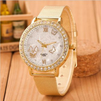 Women Ladies Crystaltterfly Gold Stainless Steel Mesh Band Wrist Watch