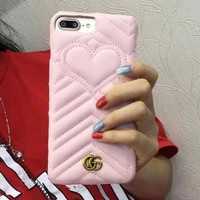 GUCCI Fashion Heart iPhone Phone Cover Case For iphone 6 6s 6plus 6s-plus 7 7plus