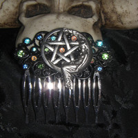 Wicca Pagan Goddess On The Moon Pentagram Silver Plated Jewel Hair Comb from Cognitive Fashioned