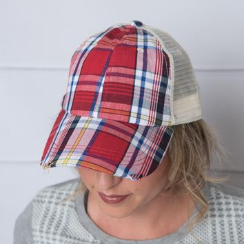 Womens red plaid trucker hat