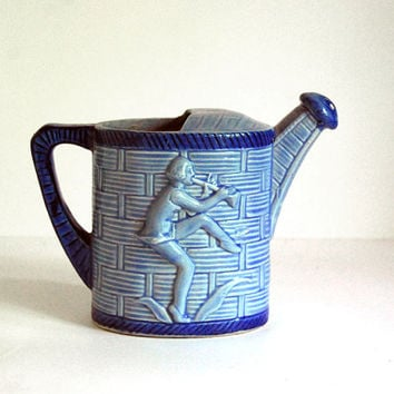 Vintage Watering Can Ceramic Pitcher Blue Pied Piper Japanese Pottery 1950s Vase Indoor Gardening Dancing Musician Mid Century Decor