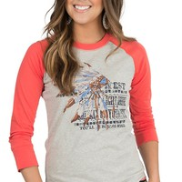 Ariat Women's Grey Riding High 3/4 Raglan Sleeve Tee