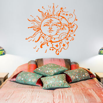 Sun And Moon Wall Decal- Sun Moon And Stars Wall Decals Ethnic Decor- Bedroom Dorm Wall Decal Sticker Bohemian Boho Wall Art Home Decor C108