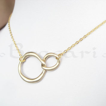 Gold Infinity Necklace, Infinity Necklace,Interlocking Hoop, asymmetrical jewelry, Forever Linked Small Circle Necklace Gift
