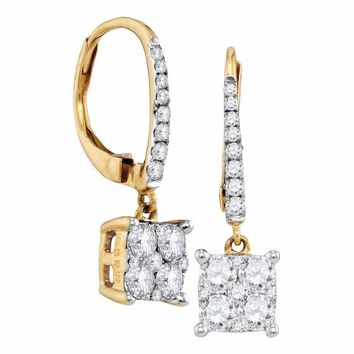 18K Yellow Gold Round Cluster Diamond Women's Square-shape Dangle Hoop Earrings 7-8 Cttw - FREE Shipping (USA/CAN)