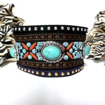 Boho black suede silver and turquoise stone tribal gold and silver studded woven tribal aztec design cuff bracelet, gift