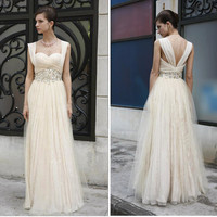 Silk Cream Champagne Ivory Rhinestone Tulle Chiffon Gown , Wedding Reception Formal Prom Evening Maxi Dress