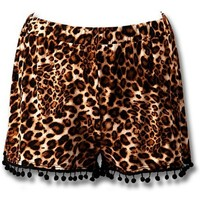 Animal Print Pom Pom Shorts, Btown-Black