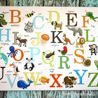 Alphabet ABC Wall Art Canvas Girls Boys Bedroom Playroom Kids Art CANVAS Teacher Classroom Decor CS0047