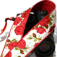 Camera Strap with Roses. Floral Camera Strap. White Red Camera Strap with Flowers. Canon Nikon Camera Strap. Women Accessories