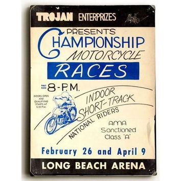 Wood Sign : Motorcycle Races, Long Beach Arena