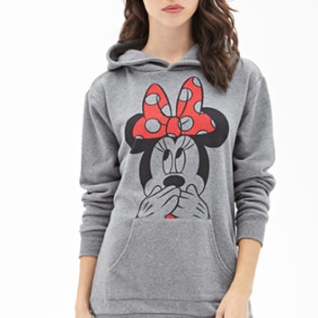 FOREVER 21 Minnie Mouse Graphic Hoodie Heather Grey/Black