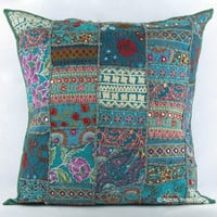 "20"" Gray Multicolor Indian Vintage Patchwork Throw Cushion Pillow Case Sham"