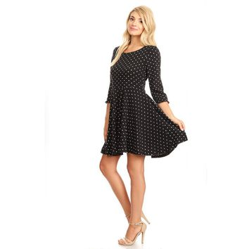 81370-Black, polka dot knit dress