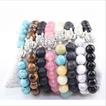 Fashion Natural Gem Stone pink black Crystal Bracelets Bangle tortoise Tibetan Prayer Rosary Mala Bead Bracelet for Meditation