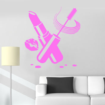 Vinyl Wall Decal Cosmetics Beauty Salon Make Up Lipstick Stickers (ig3924)