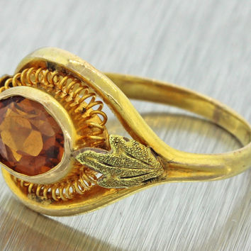 1920s Antique Art Deco 10k Solid Yellow Gold 1ctw Citrine Filigree Band Ring