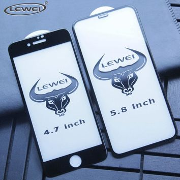 LEWEI 4D Tempered Glass For iPhone 8 7 6 6s Plus 3D Screen Protector Film Protection Full Cover Tempered Glass  for iPhone X