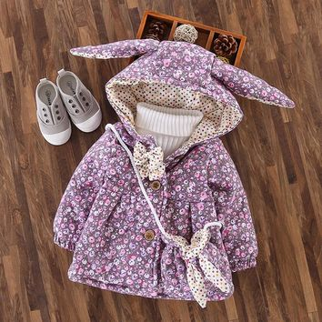 Winter Cotton Baby Girls Floral Print Rabbit Ear Hooded Bow Kids Jacket Coat Children's Outerwea