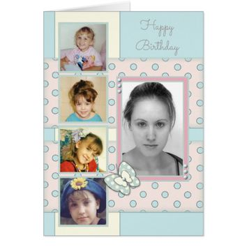 Birthday Photo Card shabby chic butterfly