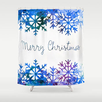 Blue Watercolor Merry Christmas Shower Curtain by Samantha Lynn