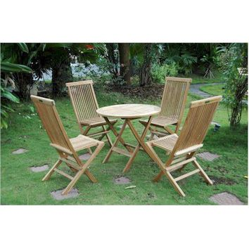 Anderson Teak Windsor Folding Picnic Table Set With 4 Classic Folding Chairs