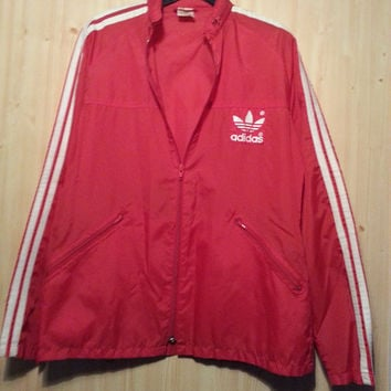 70s Vintage Adidas Red Tracksuit Top 3 Stripe Trefoil Retro Sports Bomber Mac