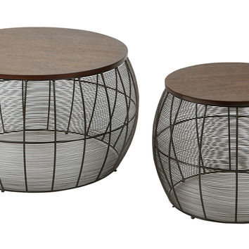 Office Star Camden 2pc Round Metal Accent Tables With Espresso Wood Top [CMN17A2-ES]