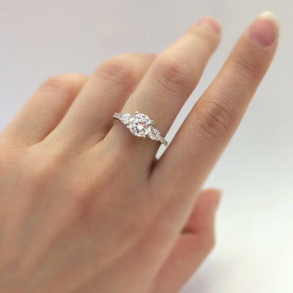 1 33 Carat Total 3 Stone Engagement From Besbelle On Etsy