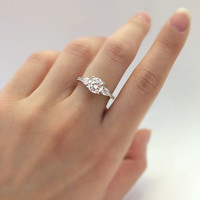 1.33 Carat Total 3 Stone Engagement Ring-Brilliant Cut Diamond Simulants-Bridal Ring-Promise Ring-925 Sterling Silver-R02719