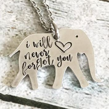 Elephant necklace - Special necklace - Hand-stamped Artisan Necklace