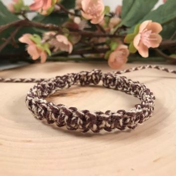Brown and White Patterned Hemp Bracelet- Square Knot