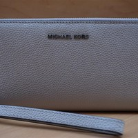 New Michael Kors Travel Continental Pebbled Leather Zip Coin Clutch Wallet $168