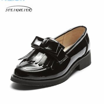 women flat casual shoes 100% genuine cowskin leather bow tassel black flat round toe handmade retro brogue handmade shoes