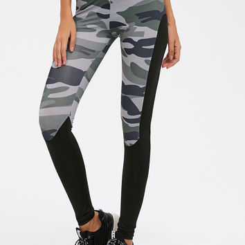 Ladies Women's Fashion Camouflage Patchwork Gym Leggings [9632541583]