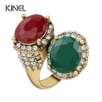 Kinel Vintage  Rings For Women Color Ancient Gold Mosaic Red Resin Surround White Crystal Anillo