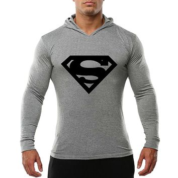 Clothing Sweatshirts Men Long Sleeve Gyms Tops Hoodies Sporting Sweatshirt Workout Tracksuit Cotton Superman T-shirt