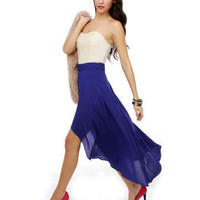 Bright Blue Skirt - Braided Skirt - High-Low Hem Skirt - $50.00