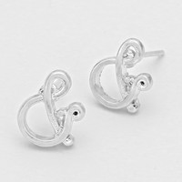 Ampersand Stud Earrings Silver