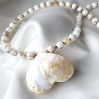 Mother of pearl necklace, natural heart shape. Statement jewelry in shimmering white, cream & taupe. Wear it 2 ways! Beachy, nautical