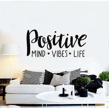 Vinyl Wall Decal Positive Vibes Life Hearts Quote Words Art Decor Stickers Mural (g960)