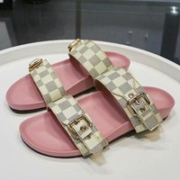 Louis Vuitton LV Women Buckle Leather Fashion Slipper Sandals Shoes-3