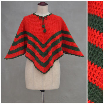 Vintage poncho, handcrafted crochet poncho, 1970's red / green, striped Christmas theme poncho, One size, Child to adult, Shawl / Wrap