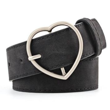 Vegan Leather Black Heart Belt