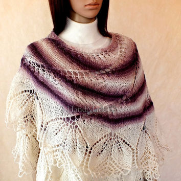 Lace Knit Round Purple of White Merino Wool Shawl Wrap Fall Winter Fashion Woman Lady