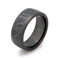 US Navy Stainless Steel Gunmetal Ring -Size
