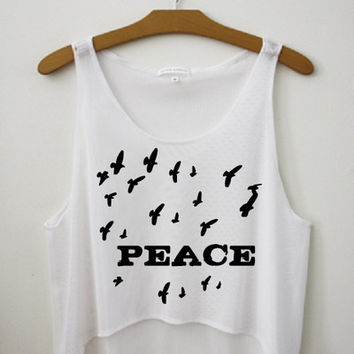 Peace & Birds Crop Top by Hipster Tops
