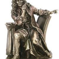 Moliere at Desk French Writer Portrait Statue Bronze Finish 9H