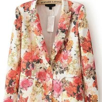 Floral Print One-button Blazer - OASAP.com